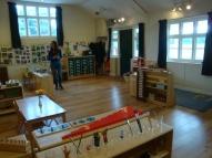 Hall set up for the Montessori School